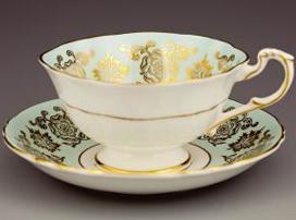 Paragon皇室22K金彩古典花卉咖啡杯盤組